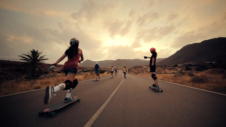 yellow horizons endless roads longboard girls crew