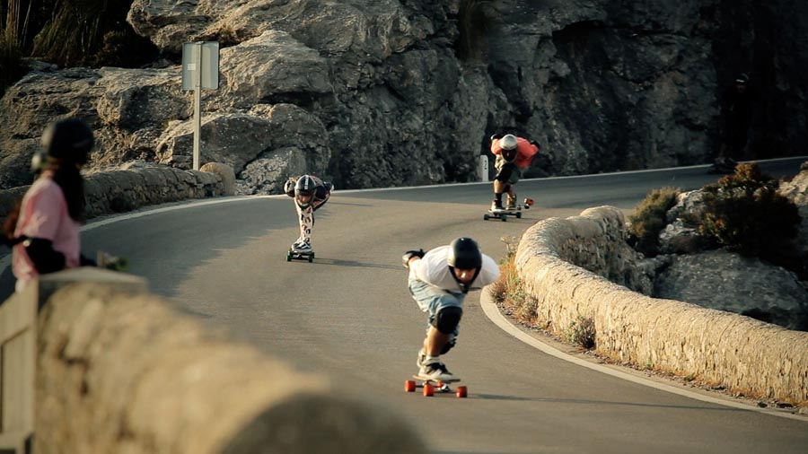 downhill skateboarding girls endless roads